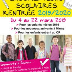Inscriptions scolaires 2019 2020