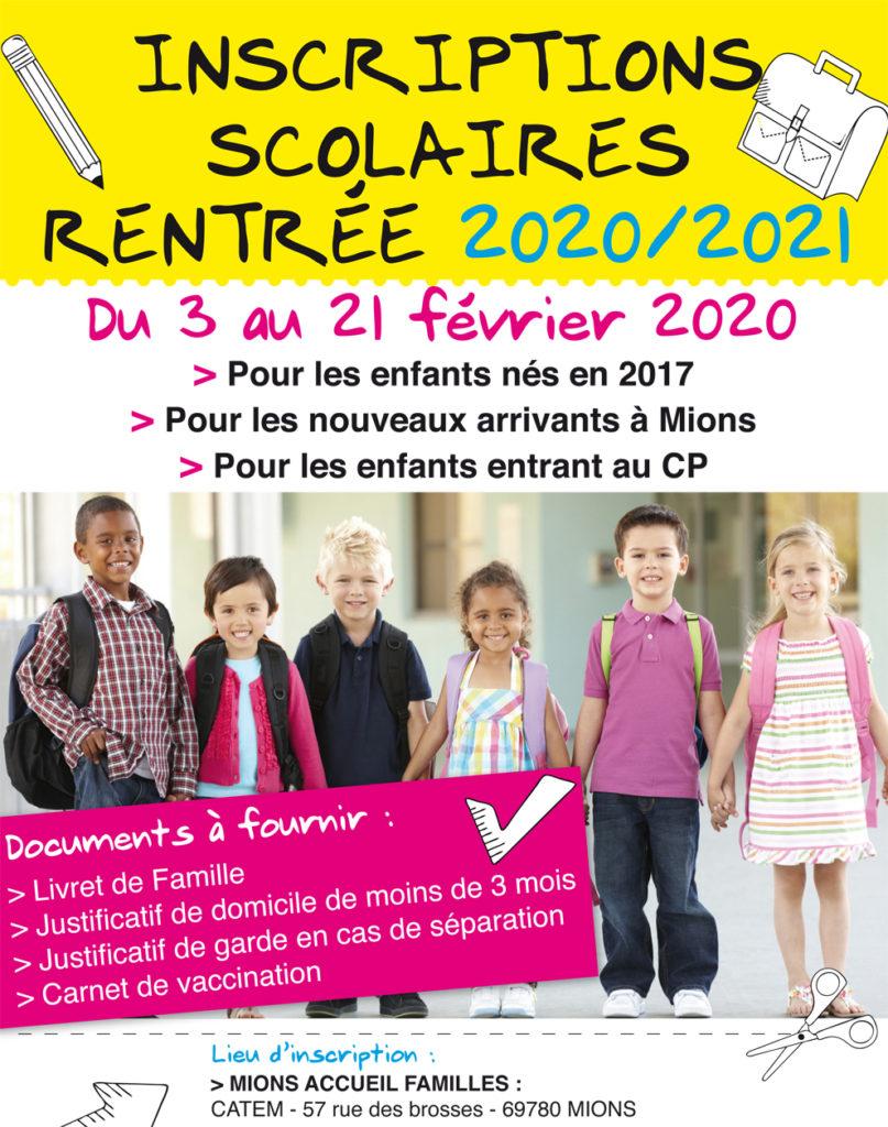 inscriptions scolaires 2020 2021